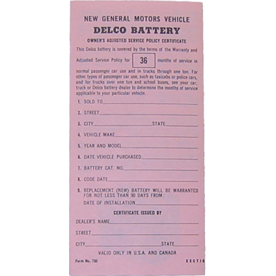 Delco Battery Certificate 1965-68