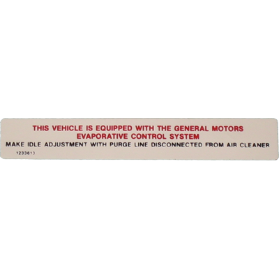 Emissions Decal 1970 Buick Riviera EC V8