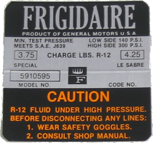 A/C Compressor Decal 1967-68 Frigidaire
