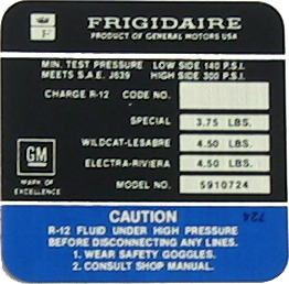 A/C Compressor Decal 1971 Frigidaire