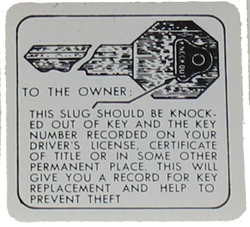 Glove Box Key Sticker 1934-58 Buick