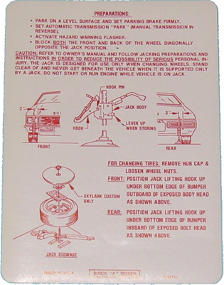 Jack Instructions Decal 1972 Buick