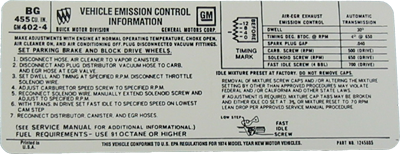 Emissions Decal 1974 Buick 455