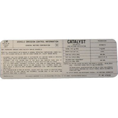 Emissions Decal 1978 Buick 350