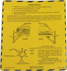 Jack Instructions Decal 1976 Buick Regal