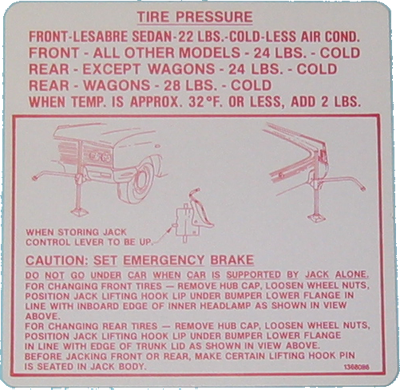 Jack Instructions 1964 Buick