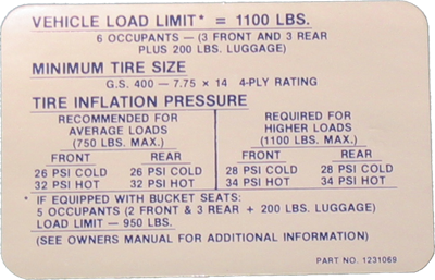 Tire Pressure Decal 1969 GS 400