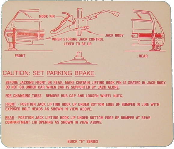 Jack Instructions 1969 Buick Riviera