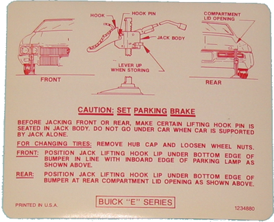 73 BUICK RIVIERA JACK INSTRUCTION TRUNK LID DECAL NEW  1973 STICKER