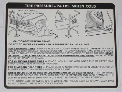 Jack Instructions Decal 1959 Buick