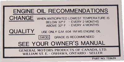 Oil Change Decal 1966-67 Buick Canada