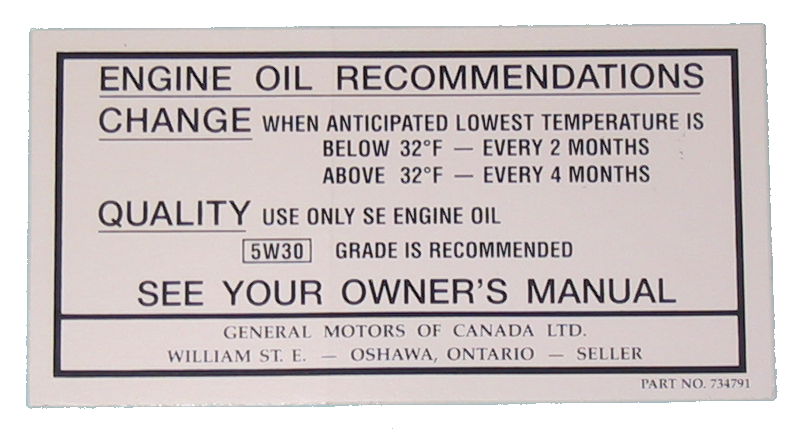 Oil Change Decal 1968-69 Canada