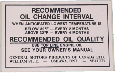 Oil Change Decal 1970-71 Canada