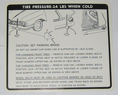 Jack Instructions Decal 1960 Buick