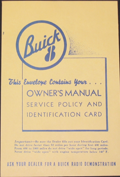 Owners Manual Envelope 1936-40 Buick