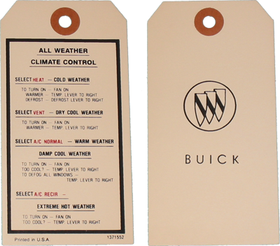 Climate Control Decal 1967