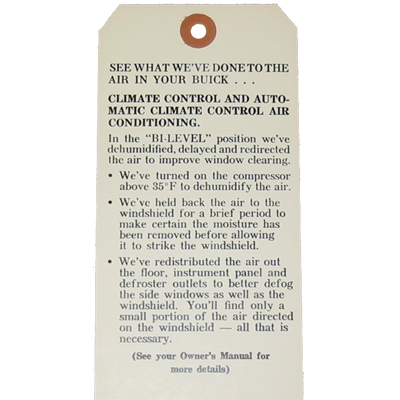 A/C Instruction Tag 1972-73 Buick Riv