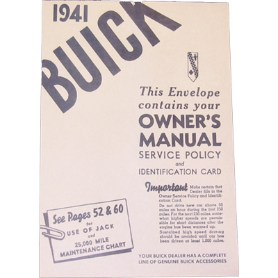 Owners Manual Envelope 1941 Buick