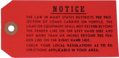 Luggage Rack Instruction Tag 1968-70