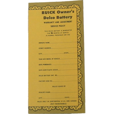 Battery Certificate 1955-60 Buick
