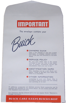 Owners Manual Envelope 1955-58 Buick