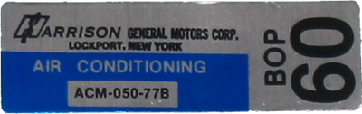 A/C Box Decal 1977 Harrison