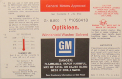 Optikleen Bottle Label 1961-68 Buick
