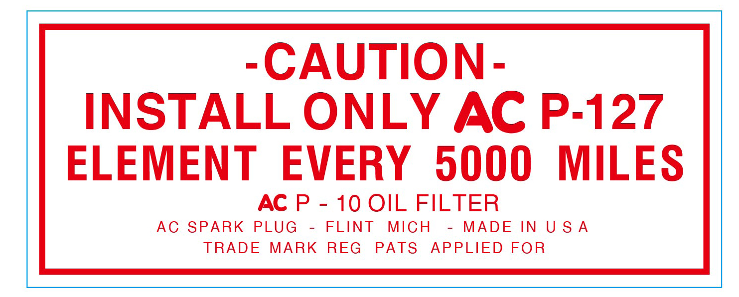 Oil Filter Decal 1948-53 Buick