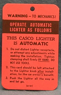 Lighter Tag Decal 1963-65