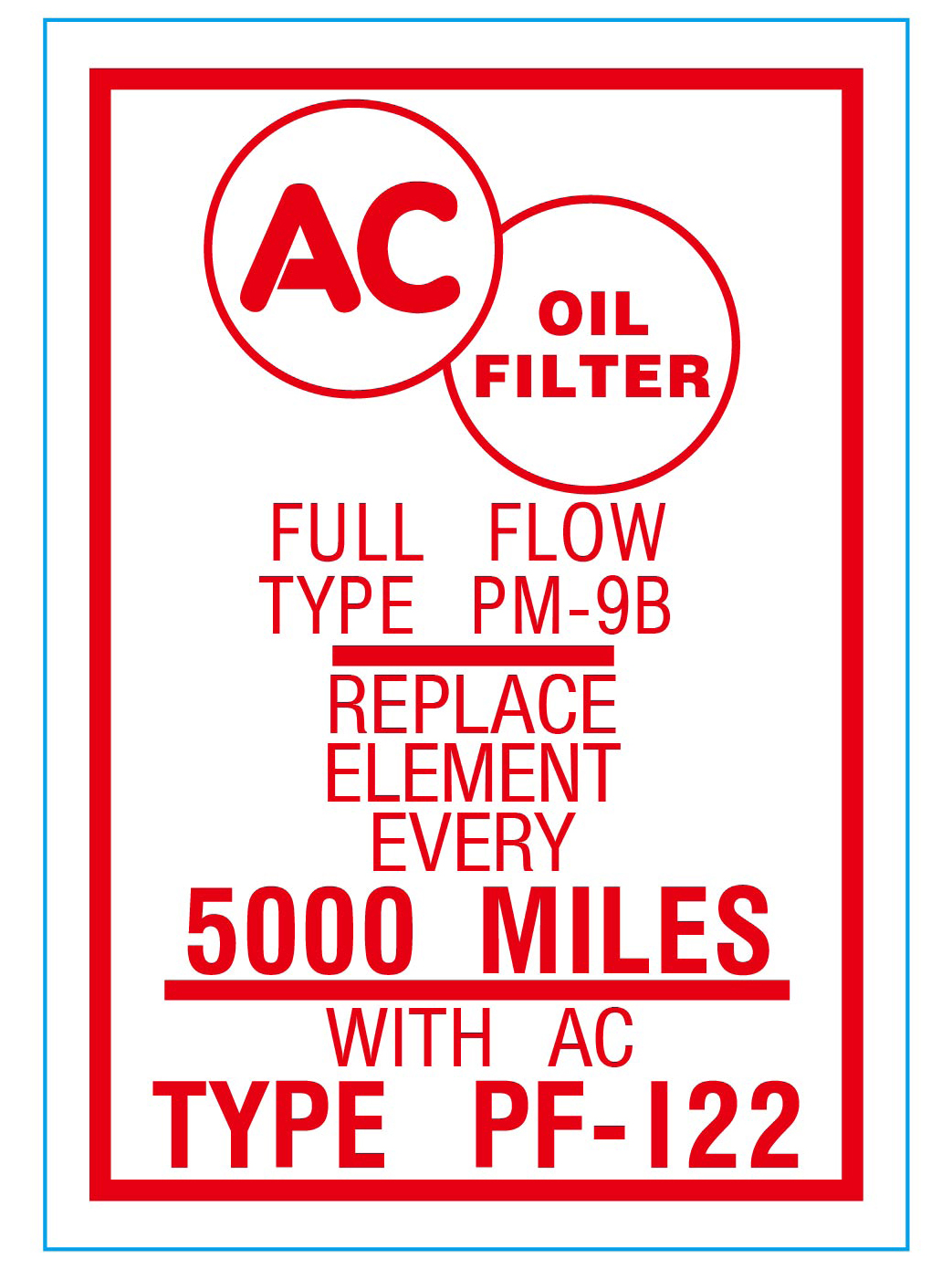 Oil Filter Decal 1953-58 Buick