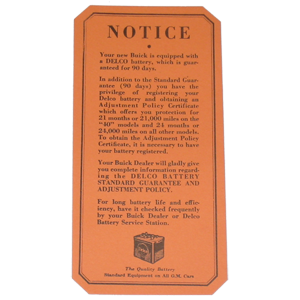 Battery Warranty 1936-37 Buick