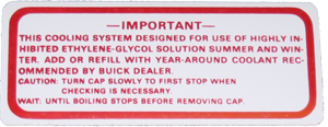 Cooling System Decal 1964