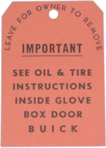 Oil / Tire Instruction Tag 1937-53 Buick