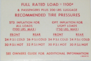 Tire Pressure Decal 1967 Buick Glove Box