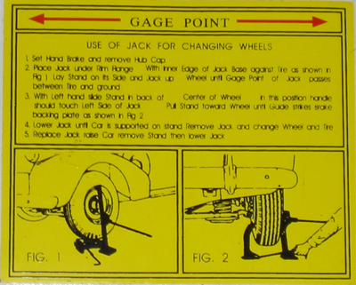 Jack Instructions Decal 1938-41 Buick