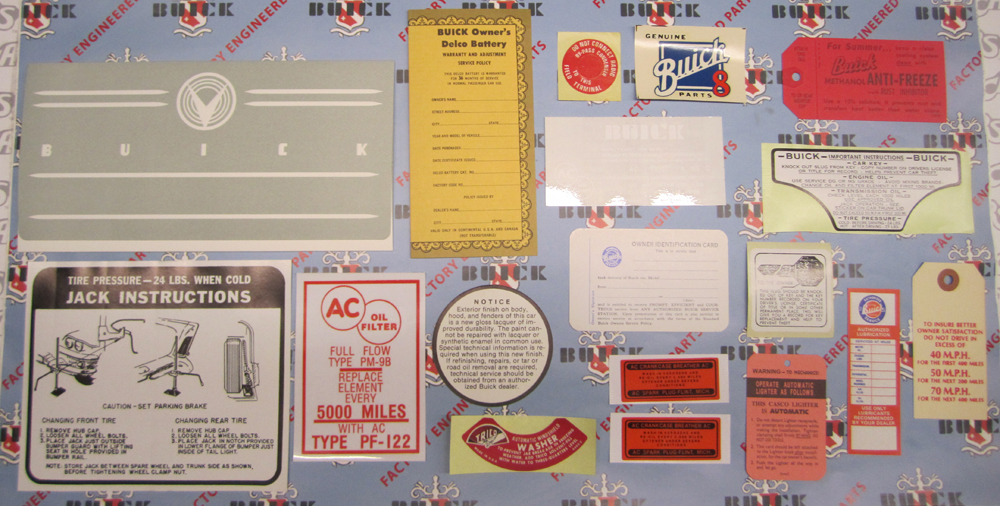 1958 Decal Set Buick - 2BBL Models