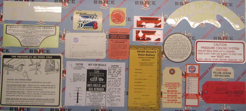1960 Decal Set Buick - 2BBL Models