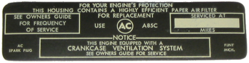 Air Cleaner Decal 1965 Buick GS